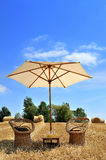 Umbrella. Moment of relaxation in the middle of a field Royalty Free Stock Image
