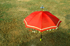 Umbrella. Red umbrella on to the green field Stock Image