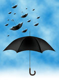 Umbrella. A conceptual illustration of an umbrella and raining umbrellas Stock Photos