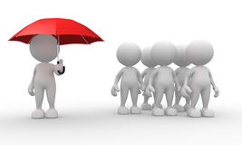 Umbrella. 3d people - men, person with a umbrella - discrimination Royalty Free Stock Images