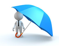 Umbrella. 3d people - man, person with a blue umbrella Royalty Free Stock Photo