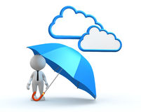 Umbrella. 3d people - man, person with a blue umbrella Royalty Free Stock Images