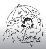 Umbrella. Hand drawn illustration of a lady holding an umbrella stock illustration