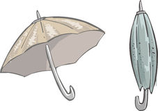 Umbrella. Two umbrellas, open and closed stock illustration