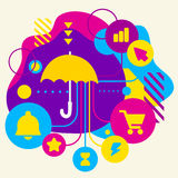 Umbrella on abstract colorful spotted background with different. Icons and elements. Flat design for the web, interface, print, banner, advertising Royalty Free Stock Photography