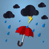 Umbrella in the air with cloud and rain. Paper art style. Projects template for business. Vector art and illustration. Royalty Free Stock Image