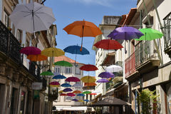Umbrella in the air. On the Street royalty free stock images