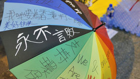 A umbrella art at Umbrella Revolution in Monkok, Hong Kong. Protestor write down some words on the umbrella to cheer up each other Royalty Free Stock Image