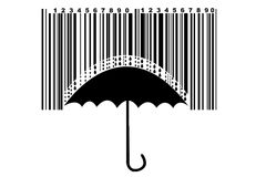 Umbrella and barcode royalty free stock images