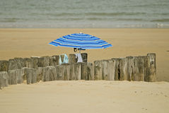 Umbrella on a beach Royalty Free Stock Photography