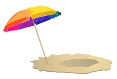 Umbrella at the beach. Vector illustration of an umbrella at beach Royalty Free Stock Photos
