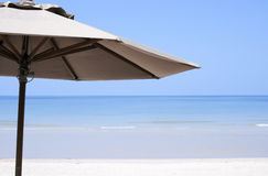 Umbrella on a beach. View in the sunny day stock image