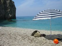 Umbrella on beach Stock Images