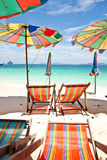Umbrella beach with blue sky Royalty Free Stock Images