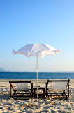 Umbrella and Beach chair Royalty Free Stock Image