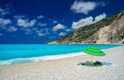 Umbrella on a beach in Kefalonia. Greece royalty free stock photo
