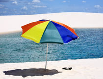 Umbrella beach in the Lencois Maranheses National Park brazil Royalty Free Stock Photos