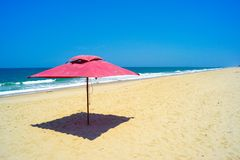 Umbrella on the beach. In Mozambique in Africa royalty free stock photo