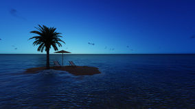Umbrella at the beach by night - 3D render Royalty Free Stock Image