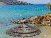 Umbrella on the beach Parasporos Cycladic island Paros. Stock Photo