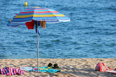 Umbrella at the beach Royalty Free Stock Images