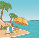 Umbrella in the beach scene. Vector illustration design royalty free illustration