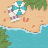 Umbrella in the beach scene. Vector illustration design stock illustration