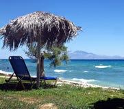 Umbrella on the beach. Greece, Zakynthos island, Kipseli. Summer vacations stock images