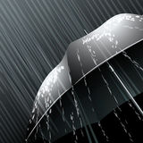 The umbrella. The black umbrella opened under the falling rain vector illustration
