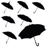 Umbrella black silhouette vector Royalty Free Stock Photos