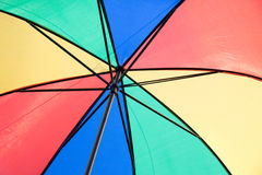 Umbrella is Blue green yellow red color Hanging above Stock Photography