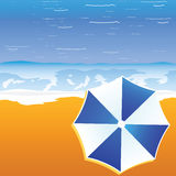 Umbrella blue and white color on the beach illustration Stock Image