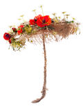 Umbrella of burlap and artificial flowers poppy Stock Photography