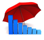 Umbrella for Business. Bar Graph and Umbrella. 3D Rendering Stock Photos