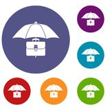 Umbrella and business case icons set. In flat circle reb, blue and green color for web Stock Photo