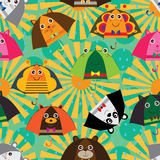 Umbrella cartoon ears sun rain seamless pattern Royalty Free Stock Photo