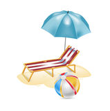 Umbrella with chair and beach ball Royalty Free Stock Photos