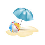 Umbrella with chair and beach ball isolated Royalty Free Stock Images