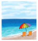 Umbrella and chairs at the sea shore and the sea. Stock Images