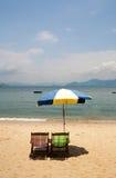 Umbrella on Cheung Chau Island Beach Hong Kong royalty free stock image