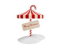Umbrella of christmas. On snow ground isolated on white background Royalty Free Stock Photography