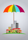 Umbrella city Stock Image