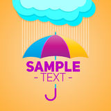 Umbrella with clouds and rain background, vector illustration. Eps available Royalty Free Stock Image