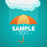 Umbrella with clouds and rain background Royalty Free Stock Image