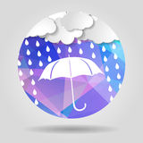 Umbrella with clouds and rain drops on the Abstract geometric ci. Rcular shape with triangular faces for graphic design royalty free illustration