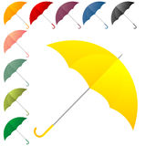 Umbrella collection. Open umbrellas in colors over white Royalty Free Stock Image