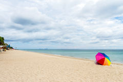 Umbrella  Colorful on Beach and blue sky Stock Image