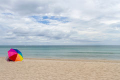 Umbrella  Colorful on Beach and blue sky Royalty Free Stock Image