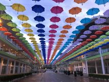 umbrella colorful hanging in the sky Royalty Free Stock Photos