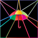 Umbrella colorful info card. Illustration abstract graphic colorful umbrella center template card black colorful background frame border Royalty Free Stock Images